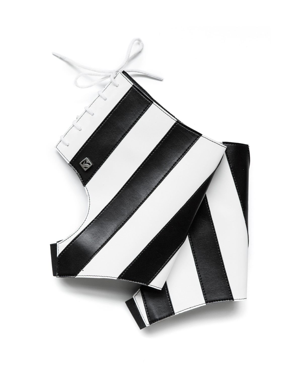 Black white ankle boots with the BW Stripes
