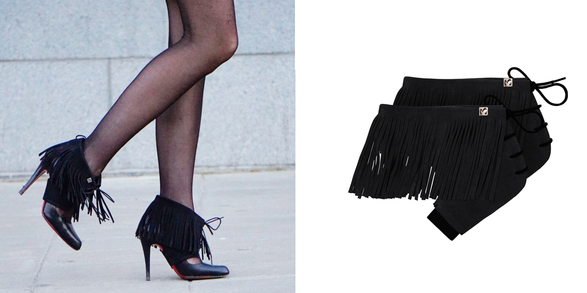 molinis black leather fringes shoeaccessories